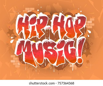 hip hop music party illustration in graffiti style, lettering logo, vector.Typography for poster,t-shirt or stickers