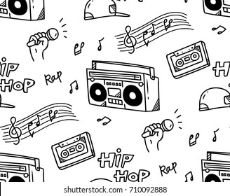 Hip hop music theme doodle seamless background