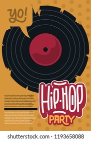 Hip Hop Poster Template Design With A Broken Vinyl Record . Vector Image.