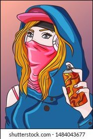 Hip hop rap gangsta street girl with a colorful spray paint on her hand. Graffiti and funky subculture, urban wall art illustration. Vector of a rebel grunge teenager. Vandalism concept