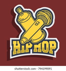 Hip Hop Sticker Design With Graffiti Paint Can Balloon Spray And A Mic Microphone Vector Graphic.