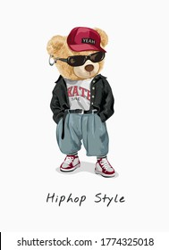 hip hop style slogan with bear toy in fashion style illustration