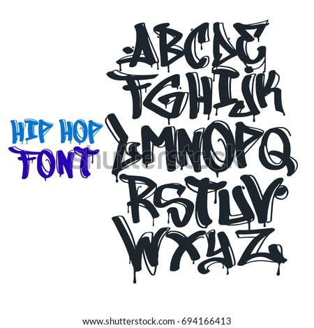 hip hop tag graffiti font のベクター画像素材 ロイヤリティフリー