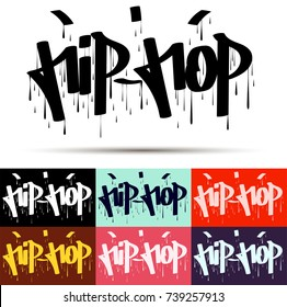 Hip Hop tag graffiti style label lettering, vector EPS 10
