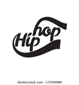 Hip hop. Vector illustration. Calligraphy. Vintage typography