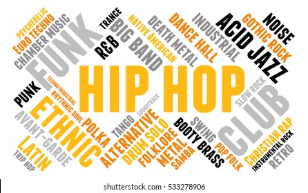 Hip hop. Word cloud, type font, white background. Musical styles.
