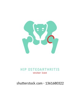 Hip Osteoarthritis Icon. Flat style. Lower back and joint pain. Editable vector illustration isolated on a white background. Medical, healthcare, elderly diseases graphic concept.