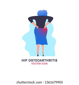 Hip osteoarthritis icon in modern vanguard simplistic style. Hip bones injury. Broken bone sign. Editable vector illustration in bright violet, blue, pink gradient colors. Medical, healthcare concept.