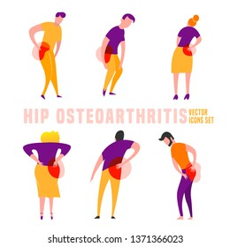 Hip osteoarthritis icons in modern vanguard simplistic style. Hip bones injury. Broken bone sign. Editable vector illustration in bright violet, yellow, red vibrant colors. Medical, healthcare concept