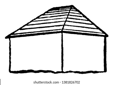 Hip Style Roof Type is where all sides slope downwards to the walls, shaped like a pyramid, two triangular sides and two trapezoidal ones, vintage line drawing or engraving illustration.