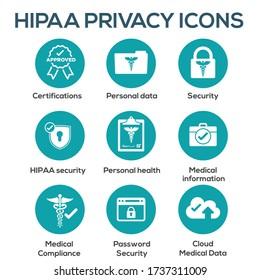 HIPAA Compliance icon set w hippa image involving medical privacy