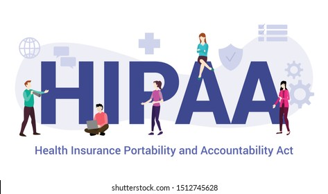 hipaa health insurance portability and accountability act concept with big word or text and team people with modern flat style - vector