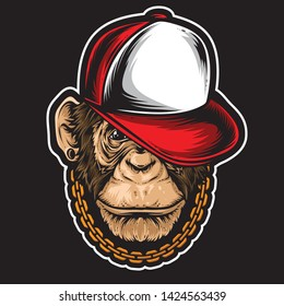 hiphop chimp vector and logo