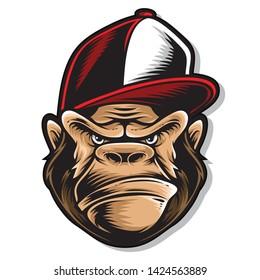 hiphop gorilla logo and vector