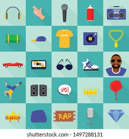 Hiphop icons set. Flat set of hiphop vector icons for web design