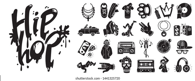 Hiphop icons set. Simple set of hiphop vector icons for web design on white background