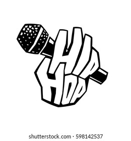 Hip-hop music cool graffiti logo. Brutal lettering 'Hip Hop' in the form of a bony hand of rough fingers holding the microphone with a simple angular details of grille. Black symbol of a Rap Battle.