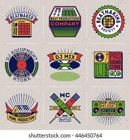 Hip-Hop Music Insignias Color Logotypes Template Set. Line Art Vector Elements.