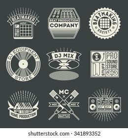 Hip-Hop Music Insignias Logotypes Template Set. Line Art Vector Elements.