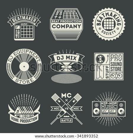 Hip Hop Music Insignias Logotypes Template Set Line Art Vector Elements