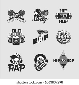 Hip-hop music signs set. Rap party collection of emblem. Old school style.