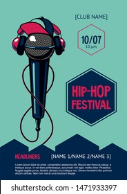 Hip-hop party poster with microphone. Rap festival invitation. Vector template.