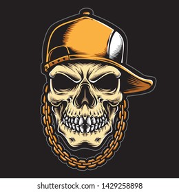 hiphop skull logo and vector
