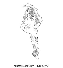Hip-hop woman dancer vector sketch isolated on white background
