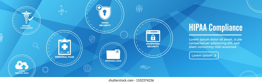 HIPPA Compliance web banner header w Medical Icon Set and text