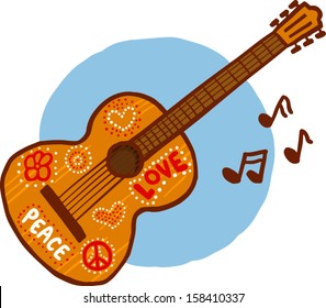Hippie Acoustic Guitar vector illustration