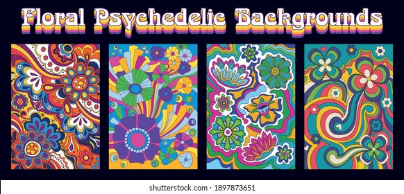 Hippie Art Style Floral Backgrounds, Psychedelic Flowers, Colors and Shapes