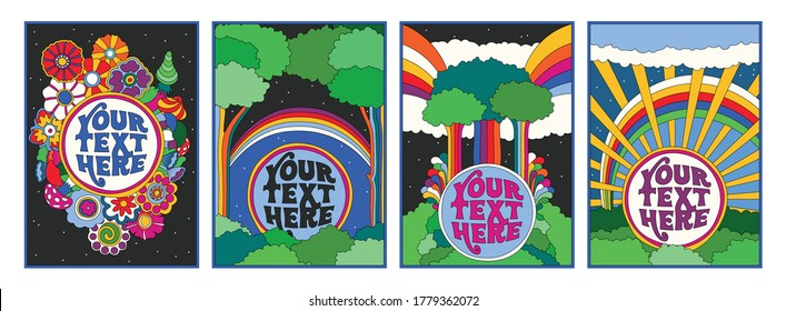 Hippie Art Style Illustrations, Psychedelic Art Poster, Banner Templates from the 1960s