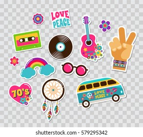 Hippie, bohemian stickers, pins, art fashion chic patches, pins, badges and icons