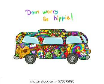 Hippie bus - hippie-painted car. Peace and love doodle vector illustration.