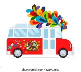 Hippie bus icon with floral element on white background. Vector illustration.