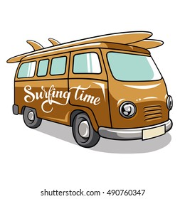 Hippie camper van. Vector illustration of a vintage vehicle for summer trips