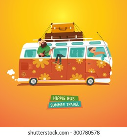 Hippie camper van. Youth traveling by a vintage microbus. Vector colorful illustration in flat style