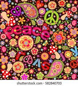 Hippie childish funny wrapper with abstract flowers, mushrooms and peace symbol