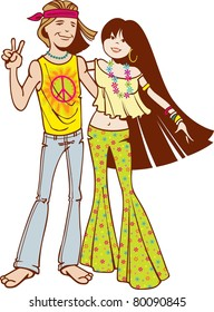 hippie couple hanging out