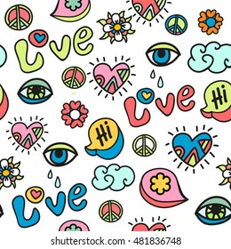 hippie doodle vector seamless pattern