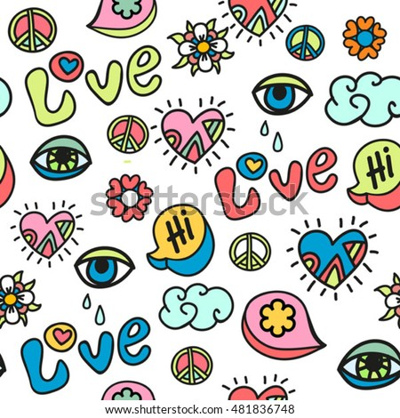 Hippie Doodle Vector Seamless Pattern Vector de stock (libre de ...