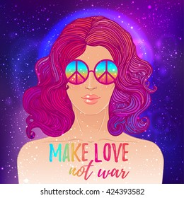 Hippie fashion girl in sunglasses with peace sign. Vector illustration of Flower Child over night sky background. Boho chic style art. Fantasy, spirituality, occultism, tattoo art. Vibrant colors.