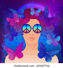 Hippie fashion girl in sunglasses with peace sign. Vector illustration of Flower Child with butterflies over night sky background. Boho chic style art. Fantasy, spirituality, occultism, tattoo art.
