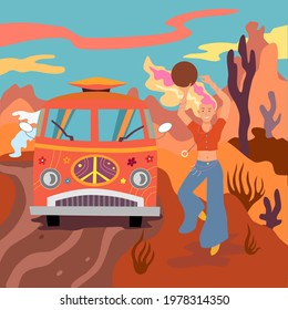Hippie girl dancing near a Volkswagen hippie car. Dancing with tambourine in the background of Arizona desert, bright sunset sun, freedom, happiness. Vector flat illustration, bright cartoon style.