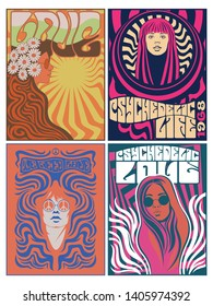 Hippie Girls 1960s Posters Stylization Psychedelic Arts and Colors