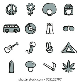 Hippie Icons Freehand 2 Color