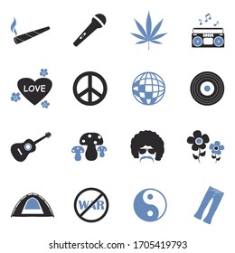Hippie Icons. Two Tone Flat Design. Vector Illustration.