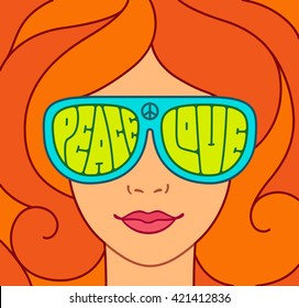 Hippie Love and Peace illustration. Beautiful red hair girl with sunglasses. Retro typography.