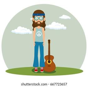 hippie man with a guitar cartoon