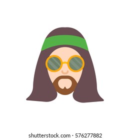 Hippie. The man in round glasses with long hair